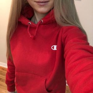 CHAMPION cropped red hoodie small reverse weave